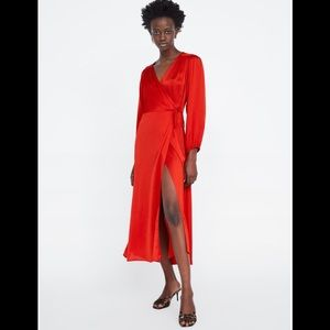 Zara Satin Wrap Maxi Dress